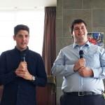 スピーチコンテスト優勝者、アルタン・トースン氏(写真左)とマックス・ネヴェクロフスキ氏(写真右)によるスピーチ